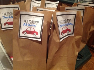 The Road Trip Countdown Goodie Bags have been pre-assembled.