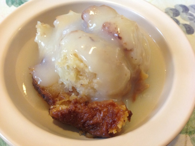 The homemade bread pudding with bourbon sauce at Two Sisters Kitchen is to die for.
