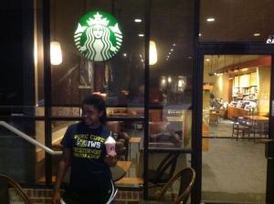 We make an emergency Starbucks stop.