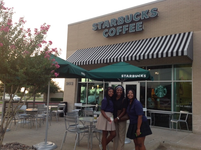 We celebrated the First Day of School with a stop at Starbucks to meet friends.